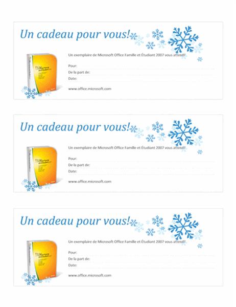 Chèque-cadeau pour Microsoft Office Famille et Étudiant2007