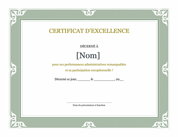 certificat d excellence pour performances administratives. Black Bedroom Furniture Sets. Home Design Ideas