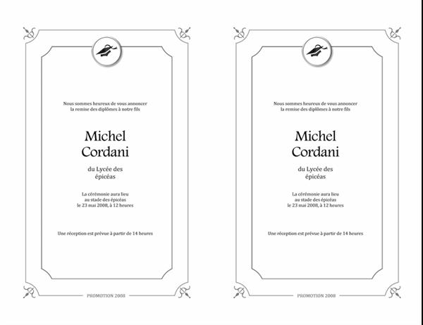 Annonce de remise des diplômes (Modèle formel, noir et blanc)