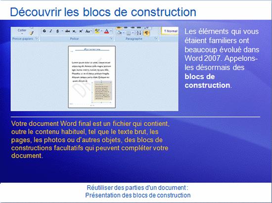 Présentation de la formation: Word 2007 - Réutiliser un texte et d'autres parties d'un document: présentation des blocs de construction