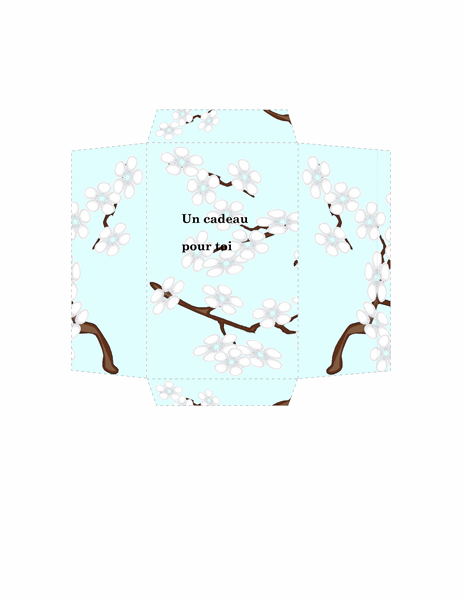 Enveloppe Argent (motif de fleurs bleues)