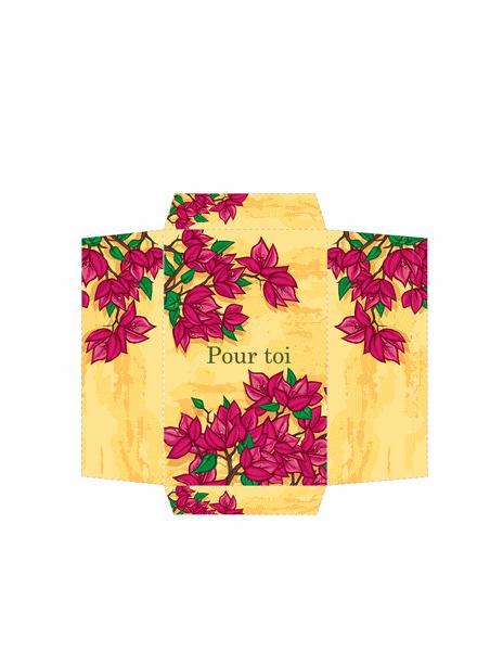 Enveloppe Argent (motif de fleurs roses)