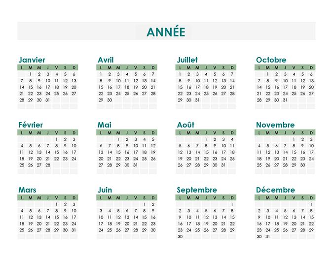 Créateur de calendrier (chaque année)
