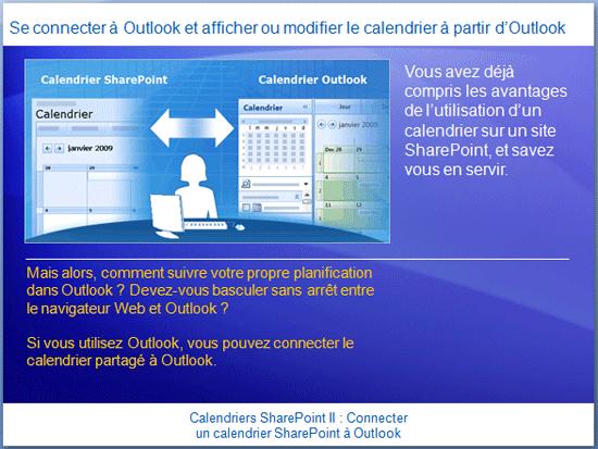 Présentation de la formation: SharePoint Server 2007 - Calendriers II: Connecter un calendrier SharePoint à Outlook
