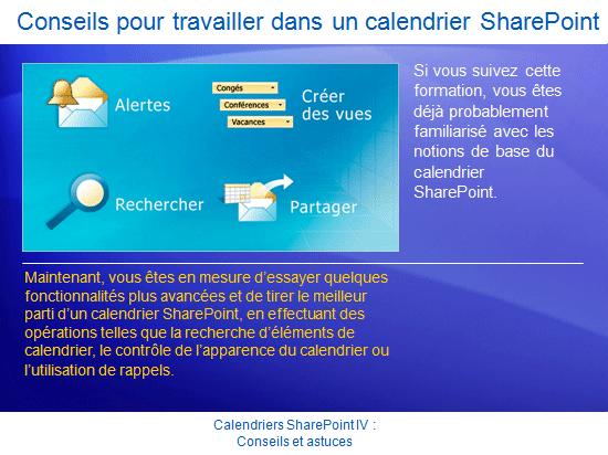 Présentation de formation: SharePoint Server2007 - Calendriers SharePoint IV : Trucs et astuces