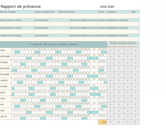Rapport de présence 2008-2009