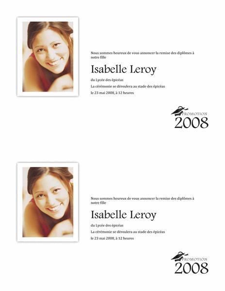 Annonce de remise des diplômes avec photo (demi-page)