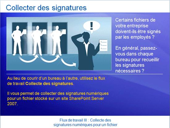 Présentation de la formation: SharePoint Server 2007 - Flux de travail III: Collecte des signatures numériques pour un fichier