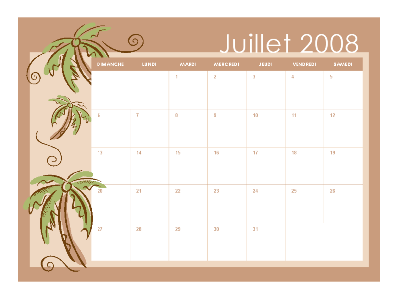 Calendrier scolaire 2008-2009 (thèmes mensuels, 13 pages, jul-jul)