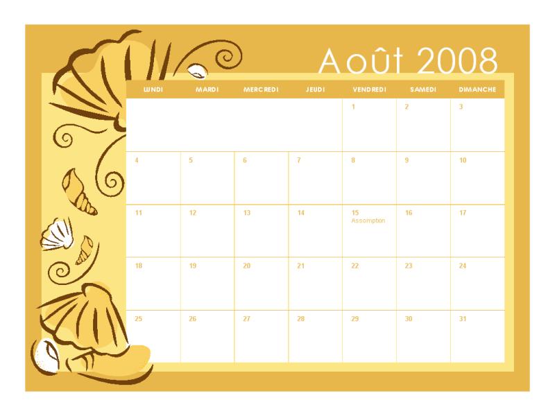 Calendrier scolaire 2008-2009 (thèmes mensuels, 13 pages, lun-dim, aoû-aoû)