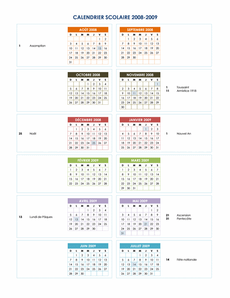 Calendrier scolaire 2008-2009 (1 page)