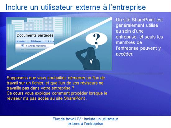 Présentation de la formation: SharePoint Server 2007 - Flux de travail IV: Inclure un utilisateur externe à l'entreprise