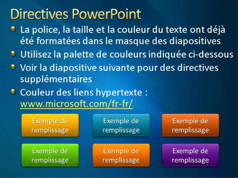 Exemples de diapositives de présentation (conception Rubans bleus)