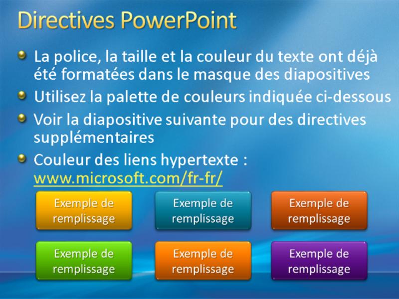 Exemples de diapositives de présentation (conception Rayons bleus)