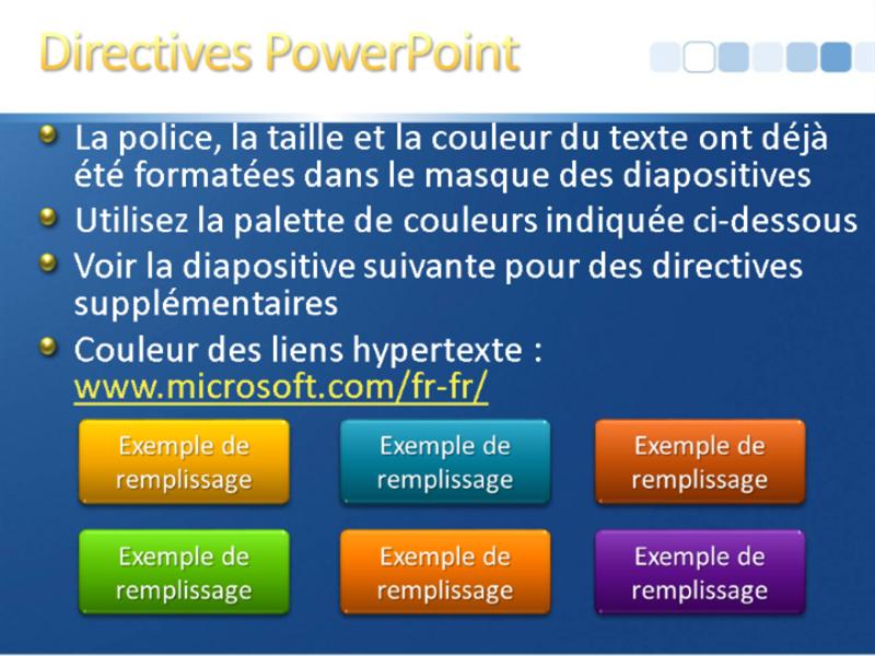 Exemples de diapositives de présentation (conception Bleu avec barre blanche)