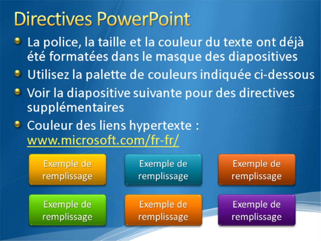 Exemples de diapositives de présentation (conception Bleu avec bordure de nuages blancs)