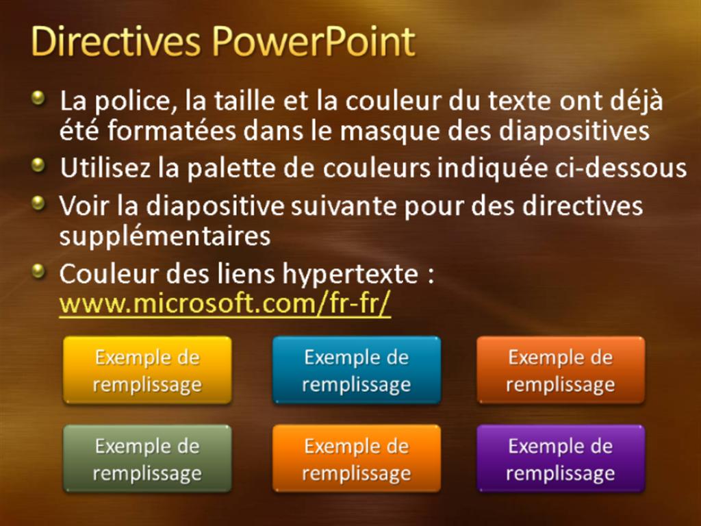 Exemples de diapositives de présentation (conception Métal brossé et courbes or)