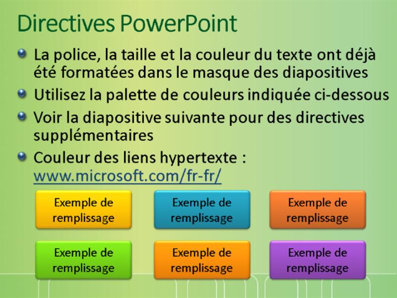 Exemples de diapositives de présentation (conception Vert avec barrière blanche)