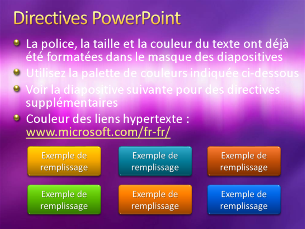 Exemples de diapositives de présentation (conception Texture violette)