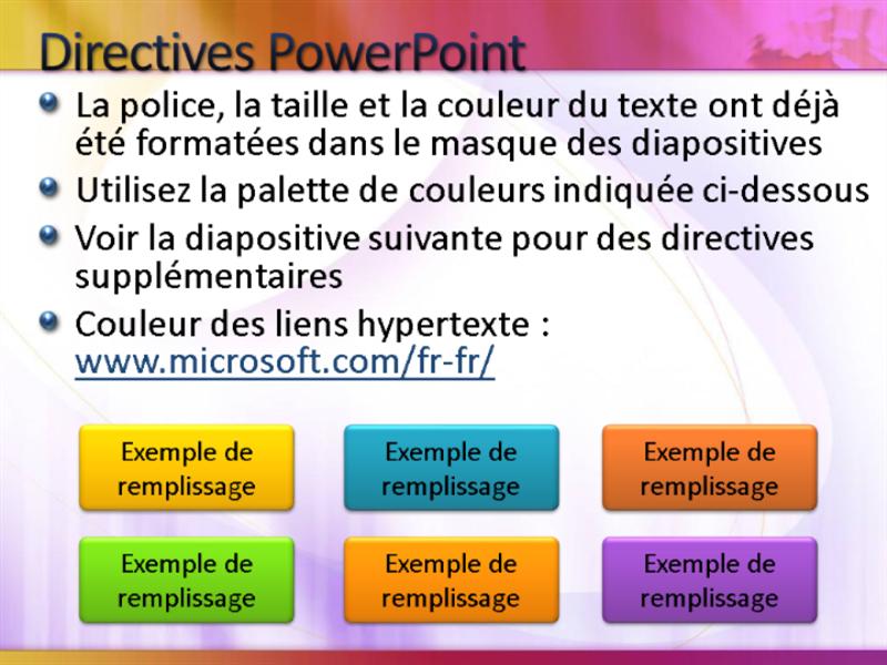 Exemples de diapositives de présentation (conception Blanc avec jaune-magenta)