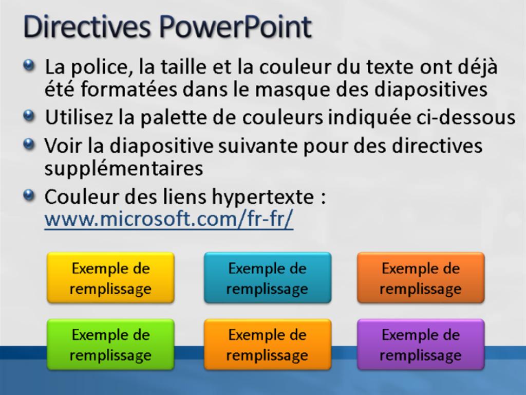 Exemples de diapositives de présentation (conception Blanc avec barre bleue)