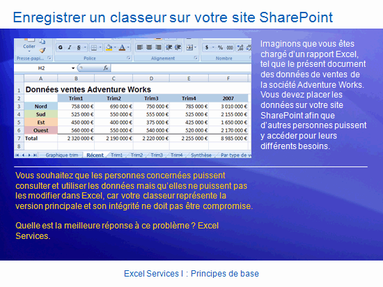 Présentation de la formation : SharePoint Server 2007—Excel Services I : Notions de base