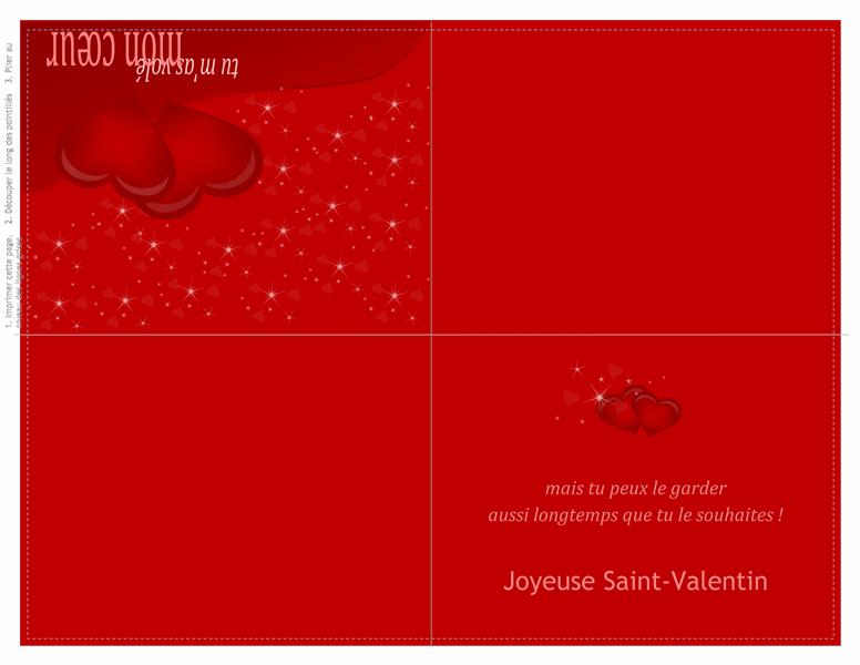 Carte de la Saint-Valentin (pliée en quatre)