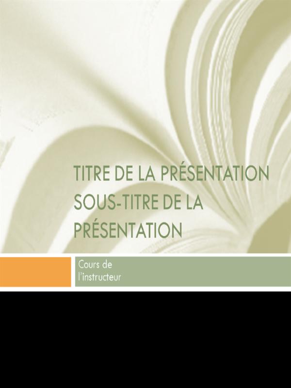 Présentation académique pour les cours d'université (manuel)