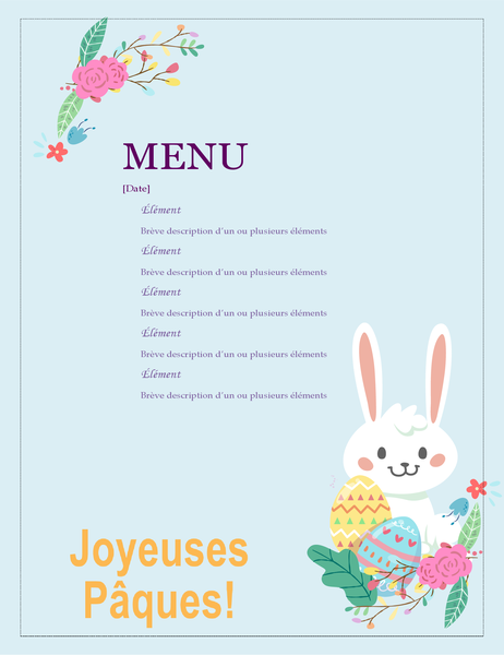 Menu de fête de Pâques