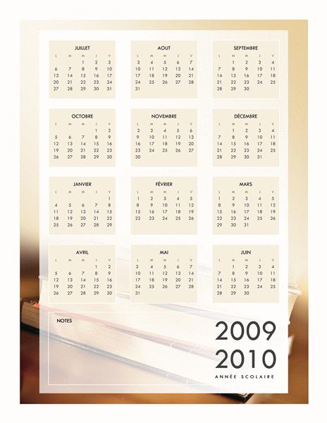 Calendrier scolaire 2009-2010 (1 page, lun-ven)