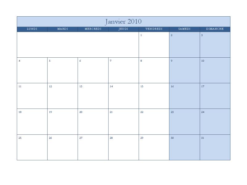 Calendrier 2010 (modèle bleu classique, lun-dim)