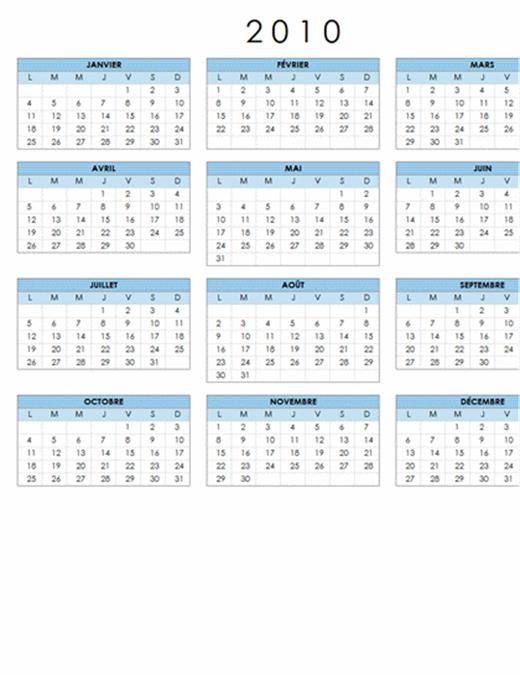 Calendrier 2010 (1 page, paysage, lun-dim)