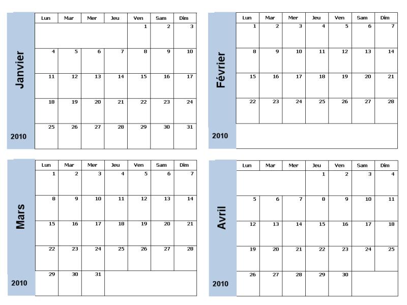 Calendrier 2010 avec bordure bleue (3 pages, lun-dim)