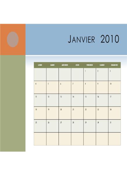 Calendrier 2010 (Lun-Dim)
