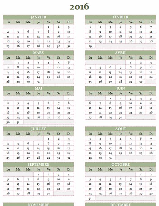 Calendrier annuel2016-2025 (lun.-dim.)