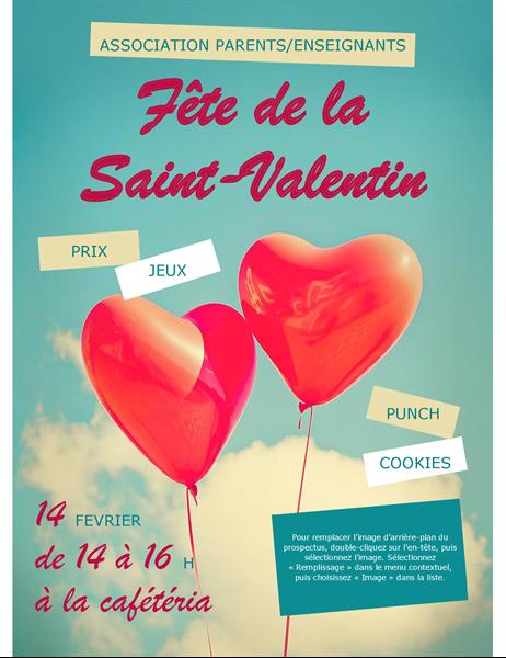 Prospectus de ballons en forme de coeur Saint-Valentin