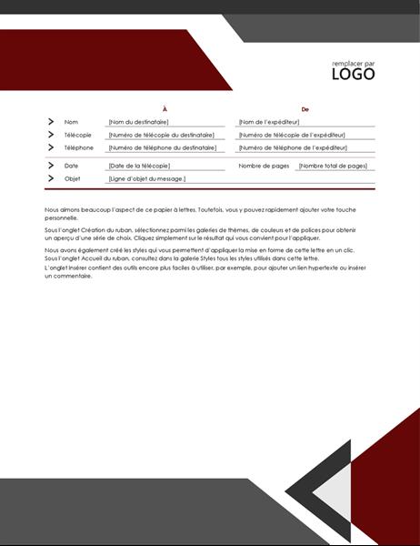 Page de garde de télécopie Angles modernes