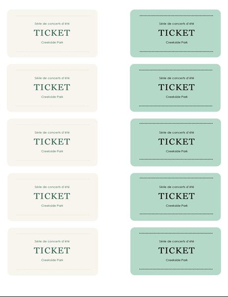 Tickets événement