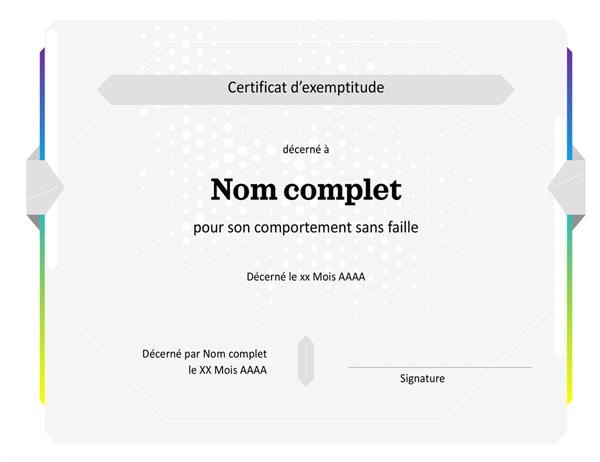 Certificat d'exemptitude