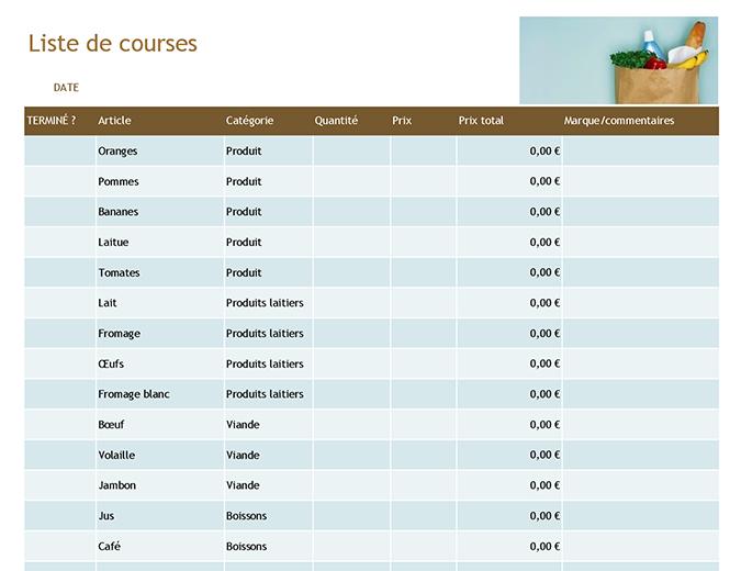 Listes de courses
