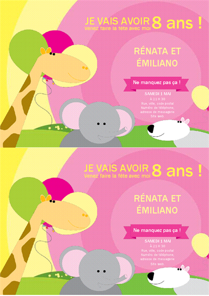 Carte d'invitation à un anniversaire (conception Enfant, 2 par page)