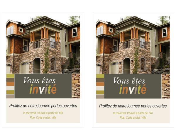 Invitation à une journée portes ouvertes dans l'immobilier (2 par page)