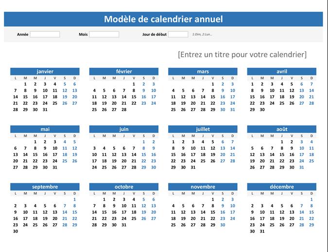 N'importe quelle année en un coup d'oeil sur le calendrier (paysage)