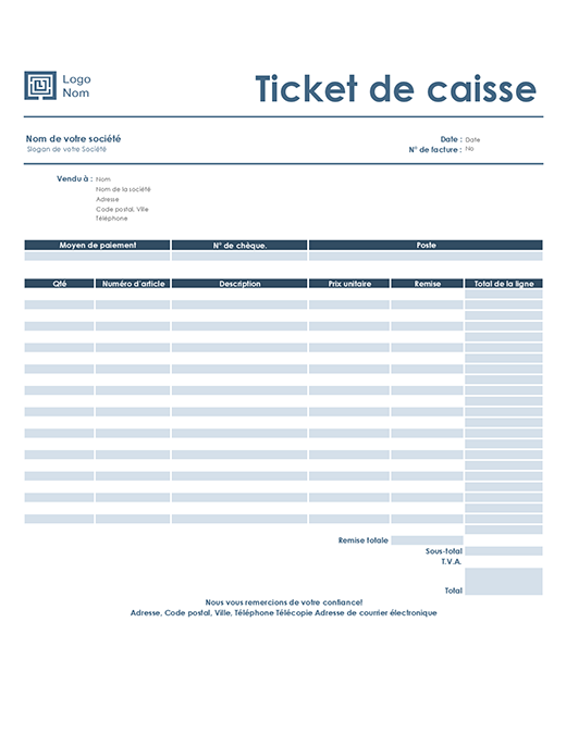 Ticket de caisse (modèle Simple Bleu)