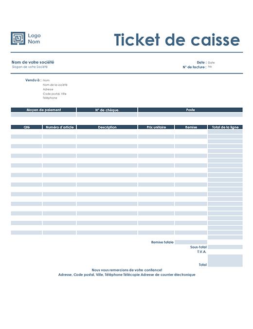 Ticket de caisse (modèle Simple Bleu)