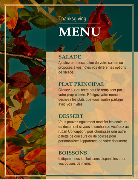 Prospectus Menu de Thanksgiving Feuilles d'automne
