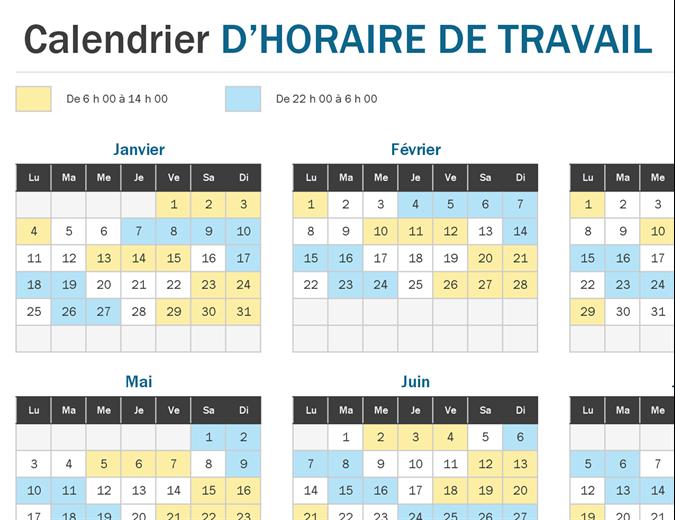 Vue rapide sur le calendrier d'horaire de travail