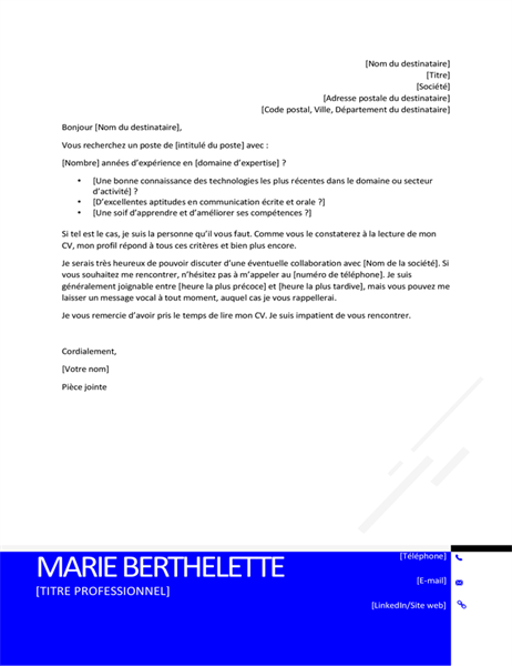 Lettre de motivation moderne atypique