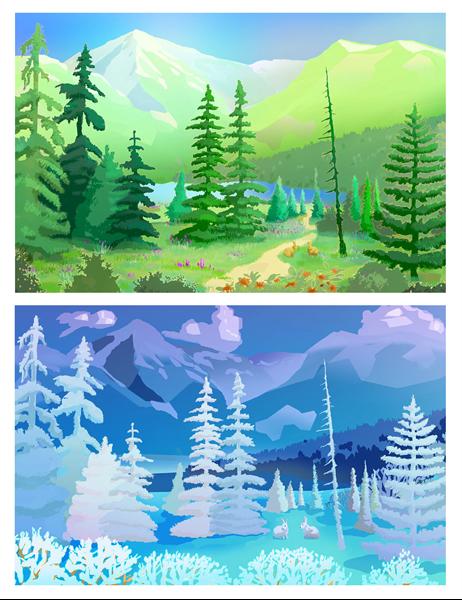 Cartes de vœux avec scènes de nature vierge (à demi-pli)