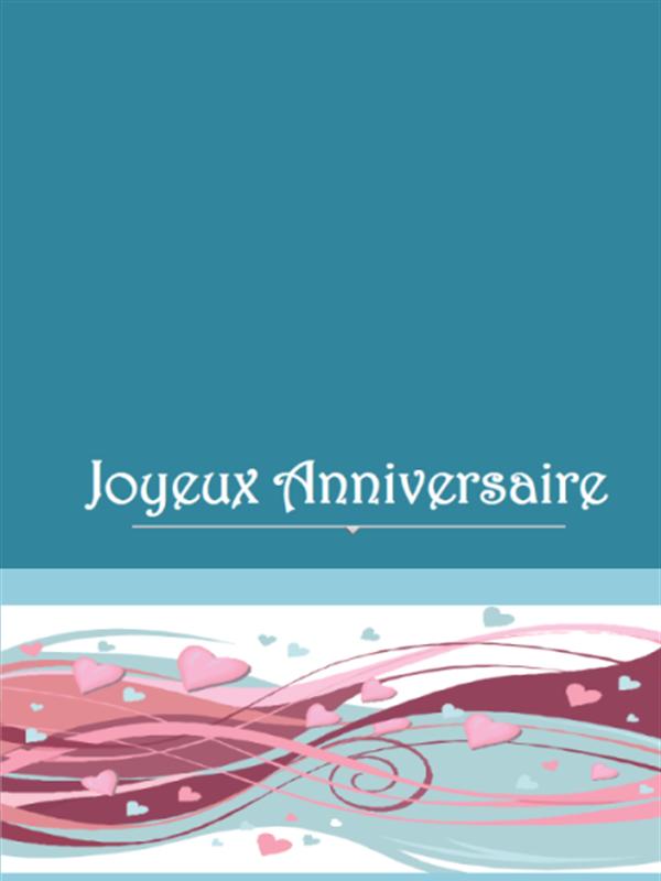 Thème anniversaire - Carte verte avec coeurs
